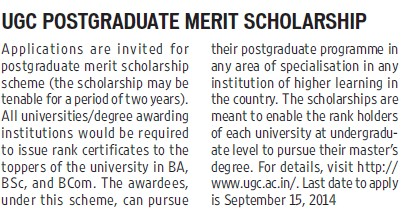 UGC PG merit scholarship (University Grants Commission (UGC))