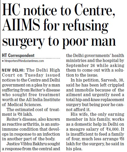 HC notice to centre, AIIMS for refusing surgery to poor man (All India Institute of Medical Sciences (AIIMS))