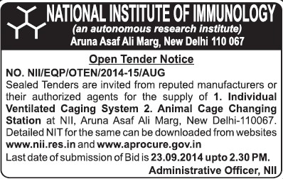 Supply of Animal cage changing station (National Institute of Immunology (NII Delhi))