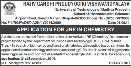 Junior Research Fellow in Chemistry (Rajiv Gandhi Proudyogiki Vishwavidyalaya)