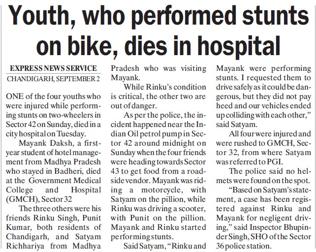 Youth dies for stunts on bike (Government Medical College and Hospital (Sector 32))