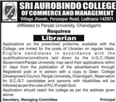 Librarian required (Sri Aurobindo College of Commerce and Management)