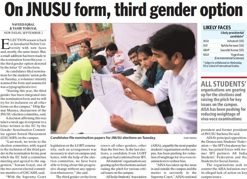 On JNUSU form , third gender option (Jawaharlal Nehru University)
