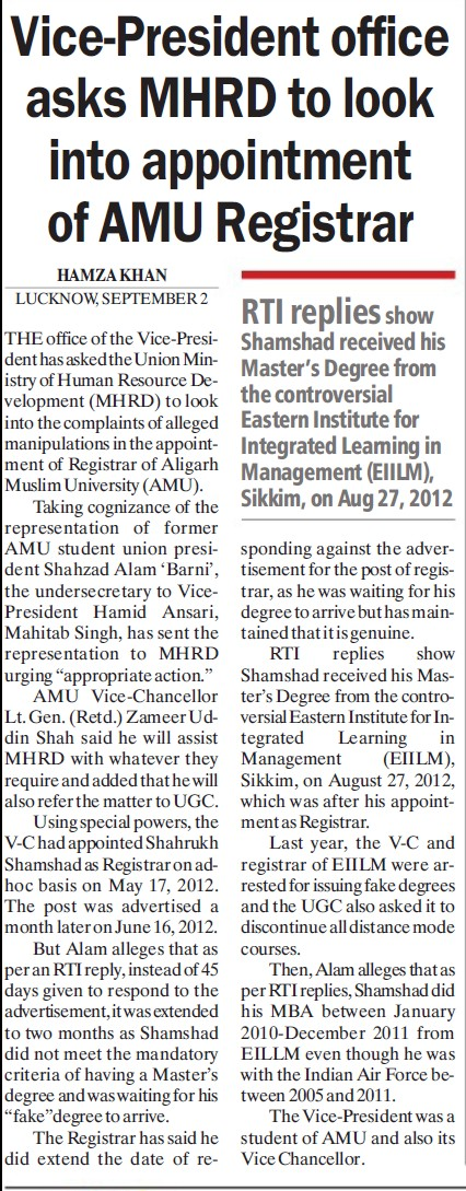 MHRD to look into appointment of AMU registrar (Aligarh Muslim University (AMU))