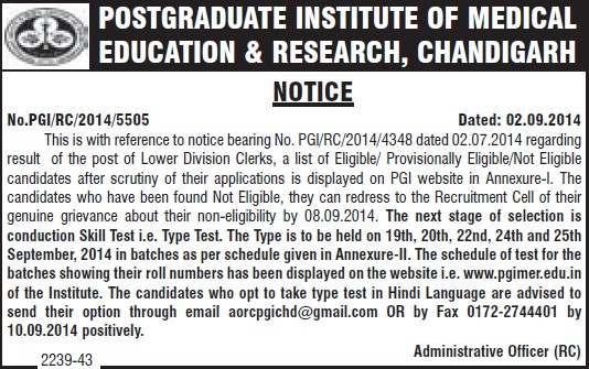 Lower Division Clerk (Post-Graduate Institute of Medical Education and Research (PGIMER))