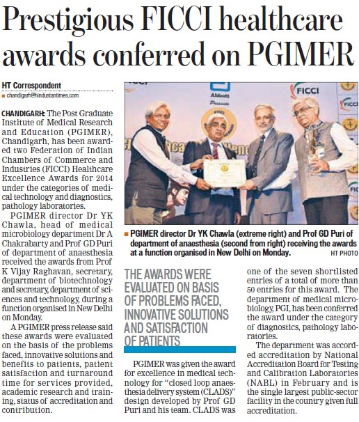Prestigious FICCI healthcare awards conferred on PGIMER (Post-Graduate Institute of Medical Education and Research (PGIMER))