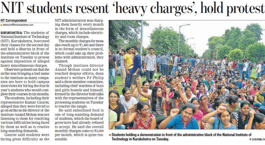 NIT students resent heavy charges hold protest (National Institute of Technology (NIT))