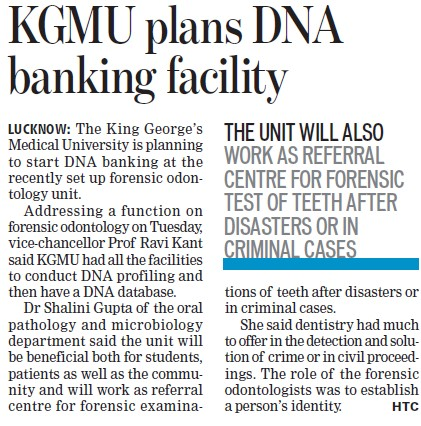 KGMU plans DNA banking facility (UP King George University of Dental Science)