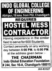 Hostel Mess Contractor (Indo Global College of Engineering)
