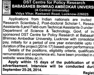 Research Scientists (Babasaheb Bhimrao Ambedkar University)