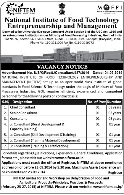 Senior Consultant (National Institute of Food Technology Entrepreneurship and Management (NIFTEM))