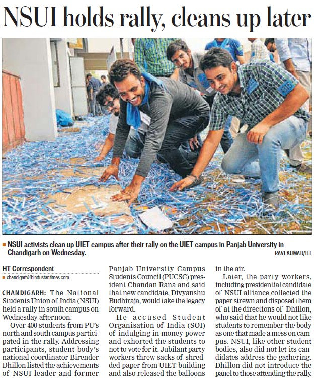NSUI holds rally, cleans up later (National Students Union of India NSUI Punjab)