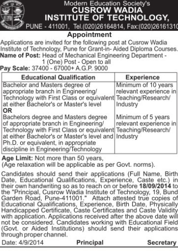 Head of Mechanical Engineering (Cusrow Wadia Institute of Technology (CWIT))