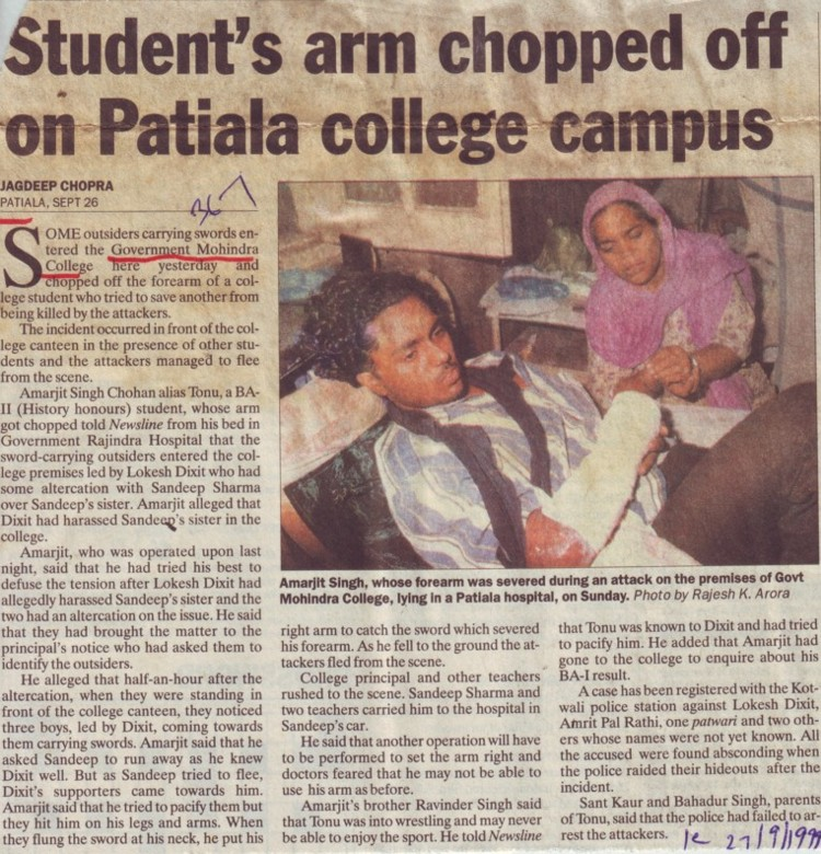 Students arm chopped off on Patiala college campus (Government Mohindra College)