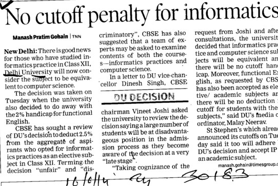 No cutoff penalty for informatics (Delhi University)