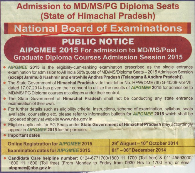 AIPGMEE 2015 (National Board of Examinations)