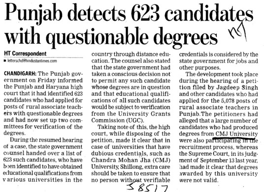 Punjab detects 623 candidates with questionable degrees (Chander Mohan Jha (CMJ) University)