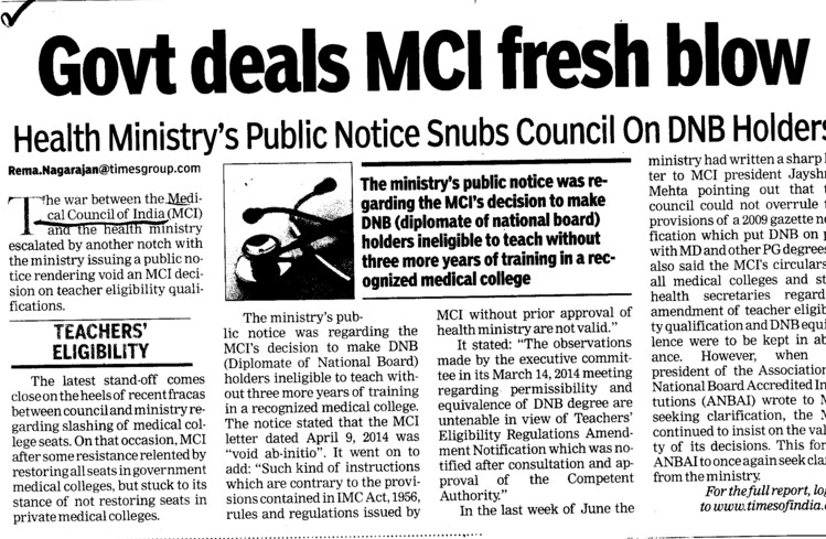 Govt deals MCI fresh vlow (Medical Council of India (MCI))