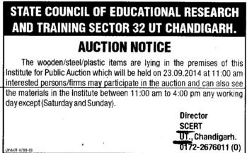 Auction for wooden and Steel items (State Council of Education Research and Training (SCERT) UT)