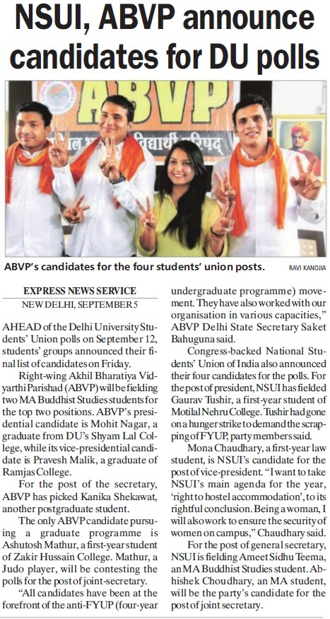 ABVP announce candidates for DU polls (Delhi University)