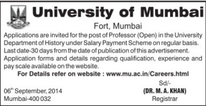 Professor required (University of Mumbai (UoM))