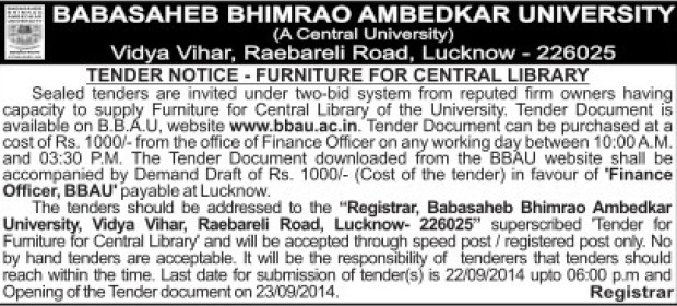 Supply of Furniture (Babasaheb Bhimrao Ambedkar University)