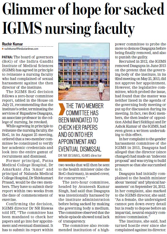 Glimmer of hope for sacked IGIMS nursing faculty (Indira Gandhi Institute of Medical Sciences (IGIMS))