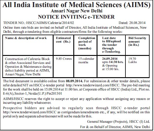 Construction of Cafeteria block (All India Institute of Medical Sciences (AIIMS))