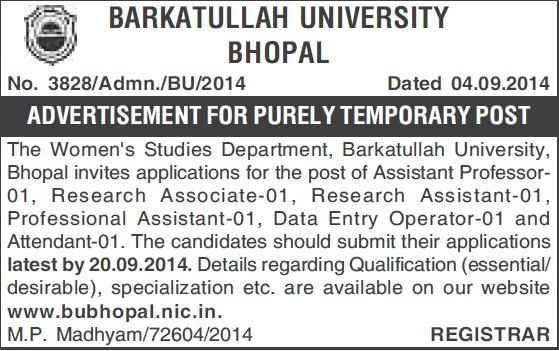 Asstt Professor and Research Associate (Barkatullah University)