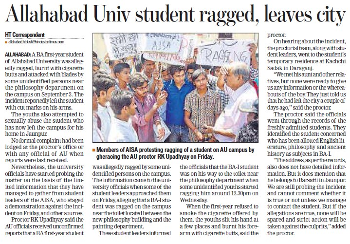 AU student ragged, leaves city (University of Allahabad (UoA))