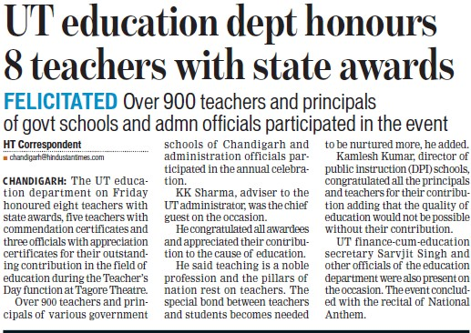 UT Edu Deptt honours 8 teachers with state awards (Education Department Chandigarh Administration)