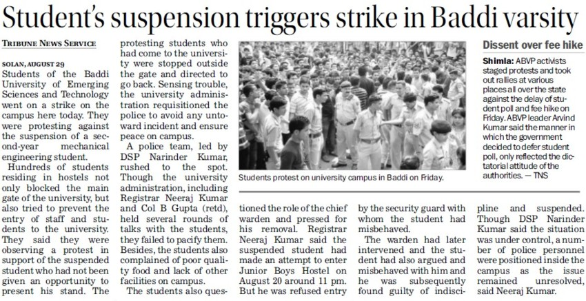 Students suspension triggers strike in Baddi University (Baddi University of Emerging Sciences and Technologies)