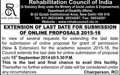 Extension in date for submission online proposal (Rehabilitation Council of India)