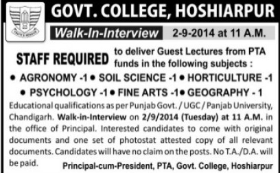 Lecturer for Agronomy (Government College)