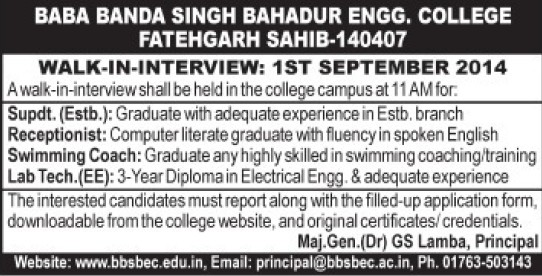 Receptionist and Lab Technician (Baba Banda Singh Bahadur Engineering College (BBSBEC))