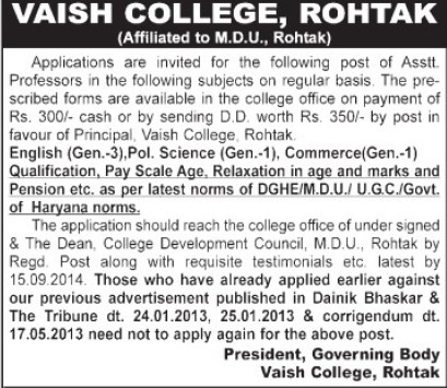 Asstt Professor for Pol Science (Vaish College)