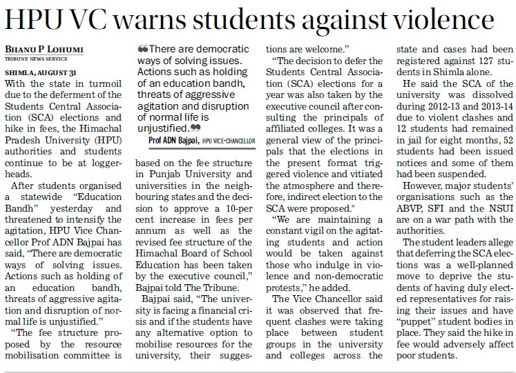 HPU VC warns students against violence (Himachal Pradesh University)