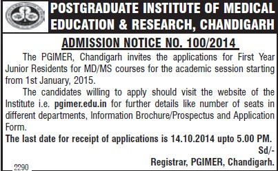 MD and MS Programme (Post-Graduate Institute of Medical Education and Research (PGIMER))