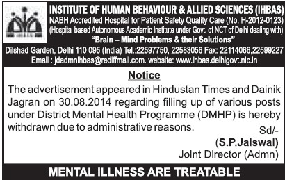 Various posts under DMHP (Institute of Human Behaviour and Allied Sciences)