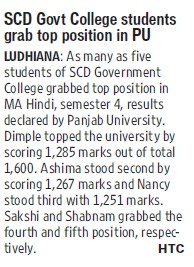 Students grab top position in PU (SCD Govt College)