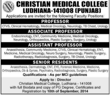 Asstt Professor and Senior Residents (Christian Medical College and Hospital (CMC))