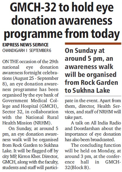 Eye donation camp held (Government Medical College and Hospital (Sector 32))