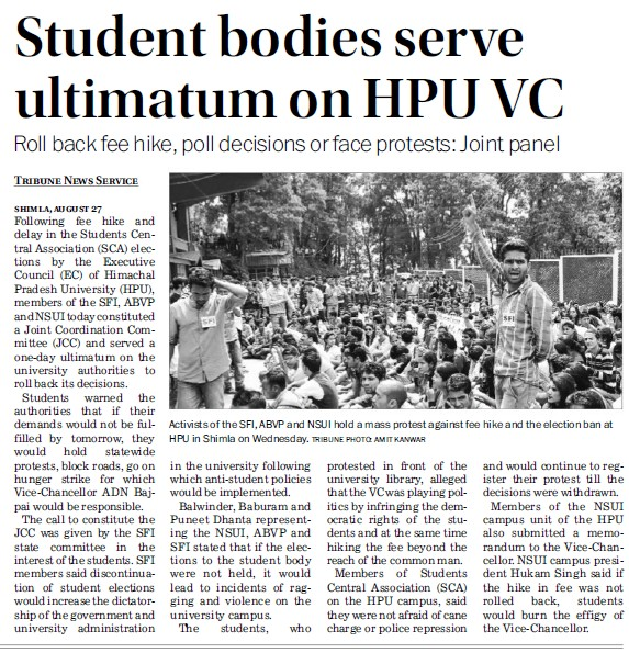 Student bodies serve ultimatum on HPU VC (Himachal Pradesh University)