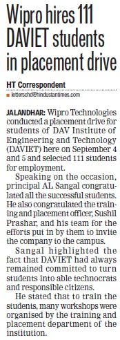 Wipro hires 111 DAVIET students in placement drive (DAV Institute of Engineering and Technology DAVIET)