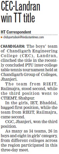CEC win TT tittle (Chandigarh Engineering College (CEC))