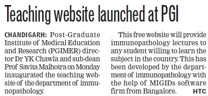 Teaching website launched (Post-Graduate Institute of Medical Education and Research (PGIMER))