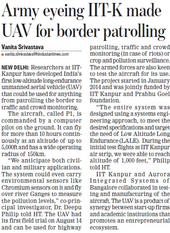 Army eyeing IITK made UAV for border patrolling (Indian Institute of Technology (IITK))