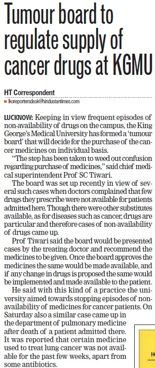 Tumour board to regulate supply of cancer drugs (KG Medical University Chowk)