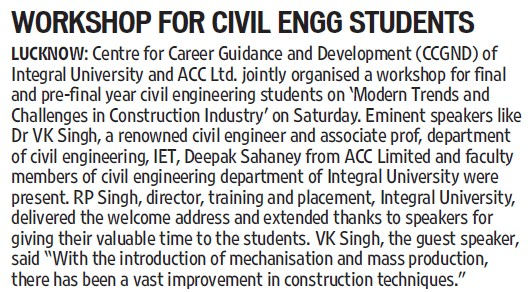 Workshop for Civil Engg students (Integral University)