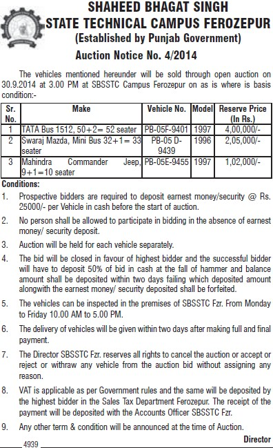 Auction Notice for Vehicles (Shaheed Bhagat Singh State (SBBS) Technical Campus)